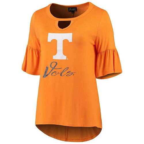 Women's Tennessee Orange Tennessee Volunteers Ruffle And Ready Keyhole Tri-Blend 3/4-Sleeve T-Shirt
