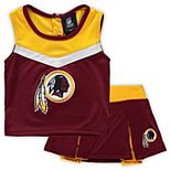 Girls Preschool Burgundy Washington Redskins Two-Piece Spirit Cheer Cheerleader Set With Bloomers