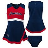Girls Infant Navy/Red New England Patriots Cheer Captain Jumper Dress