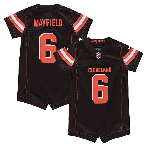 save off 9d971 482fb Infant Nike Baker Mayfield Brown Cleveland Browns Romper Jersey