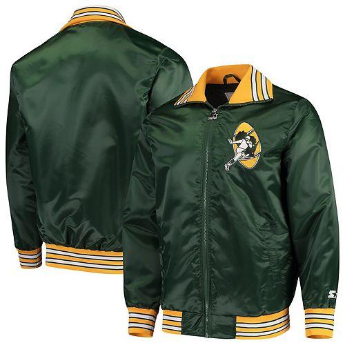 newest 8a392 0f4b0 Men's Starter Green Green Bay Packers Captain Satin Varsity Jacket