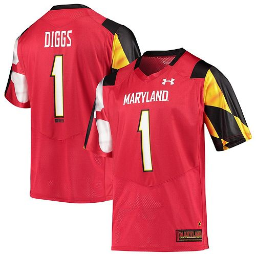 san francisco 61821 58ce4 Men's Under Armour Stefon Diggs Red Maryland Terrapins Replica Alumni  Football Jersey