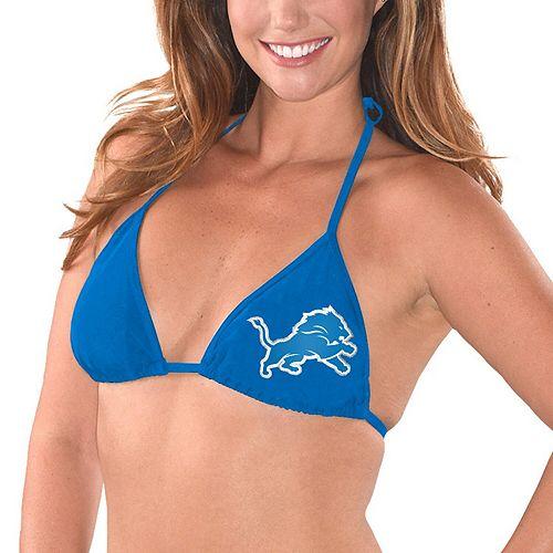 Women's G-III 4Her by Carl Banks Blue Detroit Lions Breaking Waves Bikini Top