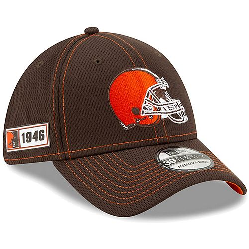 Youth New Era Brown Cleveland Browns 2019 NFL Sideline Road 39THIRTY Flex Hat