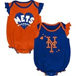 Girls Newborn & Infant Royal/Orange New York Mets Double Trouble Two-Pack Bodysuit Set