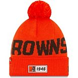 Men's New Era Orange Cleveland Browns 2019 NFL Sideline Road Reverse Sport Knit Hat