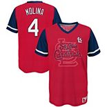 Youth Majestic Yadier Molina Red/Navy St. Louis Cardinals Play Hard Player V-Neck Jersey T-Shirt