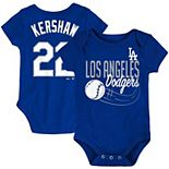 Newborn & Infant Majestic Clayton Kershaw Royal Los Angeles Dodgers Baby Slugger Name & Number Bodysuit