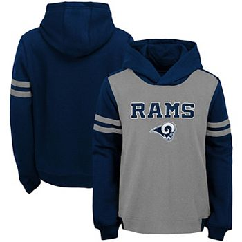 new concept 34858 42814 Youth Heathered Gray Los Angeles Rams Retro Colorblock Pullover Hoodie