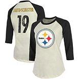 JuJu Smith-Schuster Pittsburgh Steelers Majestic Threads Women's Vintage Inspired Player Name & Number 3/4-Sleeve Raglan T-Shirt - Cream/Black