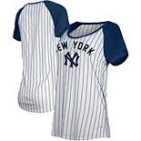 New York Yankees New Era Women's Cooperstown Pinstripe Raglan T-Shirt - White/Navy