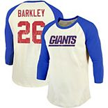Saquon Barkley New York Giants Majestic Threads Vintage Inspired Player Name & Number 3/4-Sleeve Raglan T-Shirt - Cream/Royal