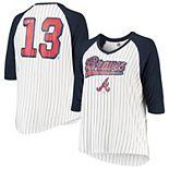 Women's 5th & Ocean by New Era Ronald Acuna Jr White/Navy Atlanta Braves Plus Size Player Pinstripe Raglan 3/4-Sleeve T-Shirt