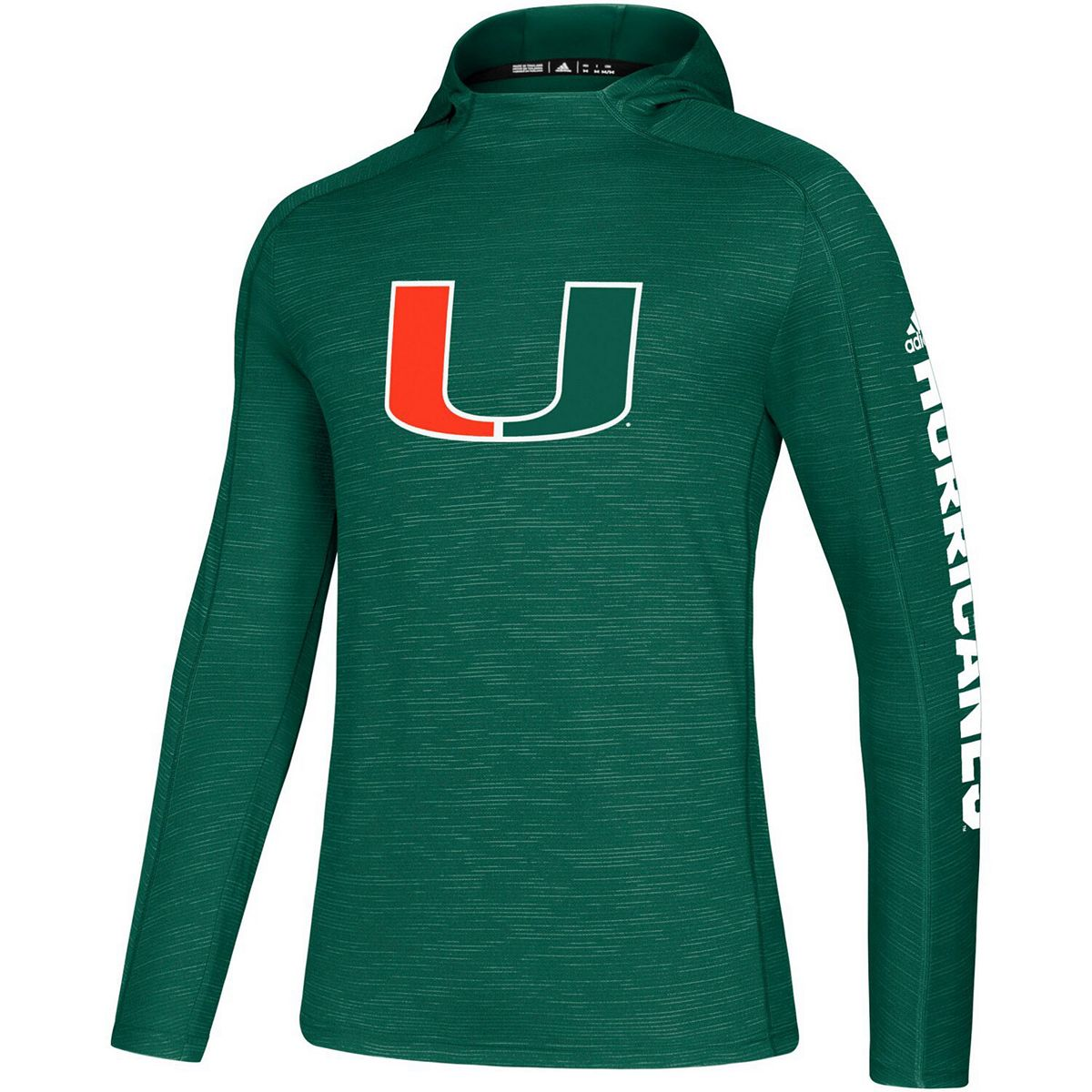 Men's adidas Green Miami Hurricanes 2019 Sideline Game Mode climalite Long Sleeve Hooded T-Shirt 8lZsZ