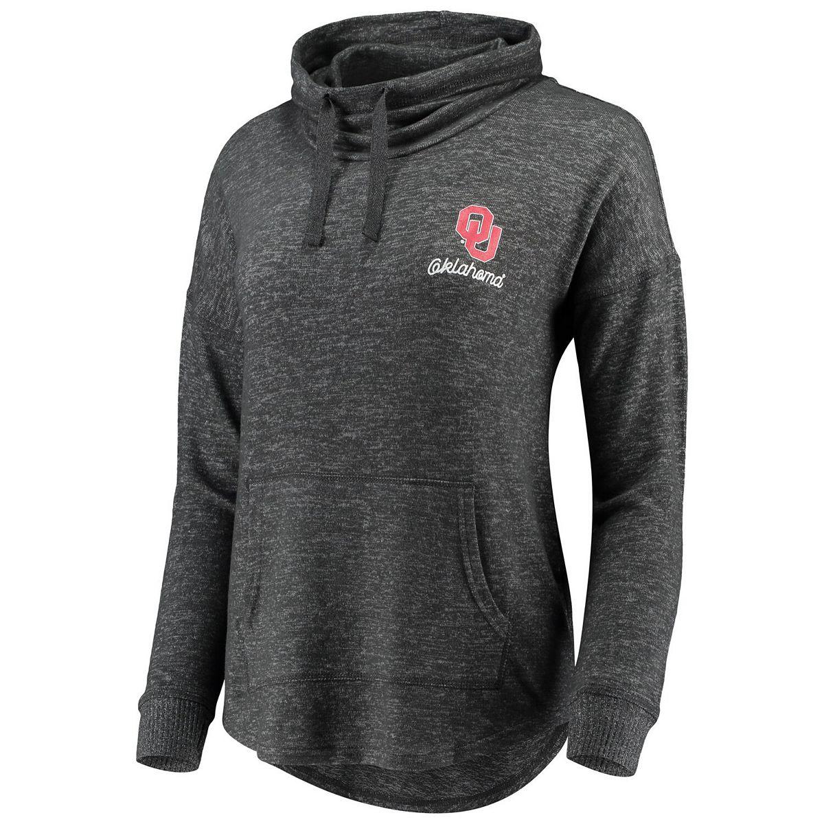 Women's Heathered Charcoal Oklahoma Sooners Cuddle Cowl Pullover Sweatshirt I1slt