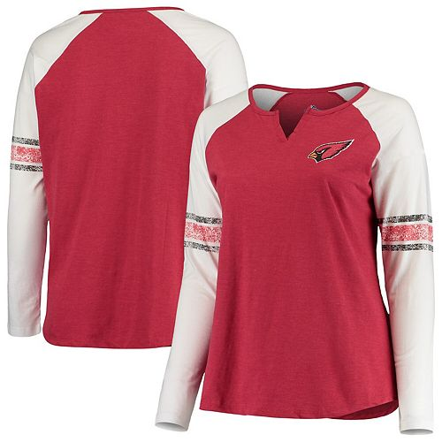Women's Heathered Red Arizona Cardinals Plus Size Notch Raglan Long Sleeve T-Shirt