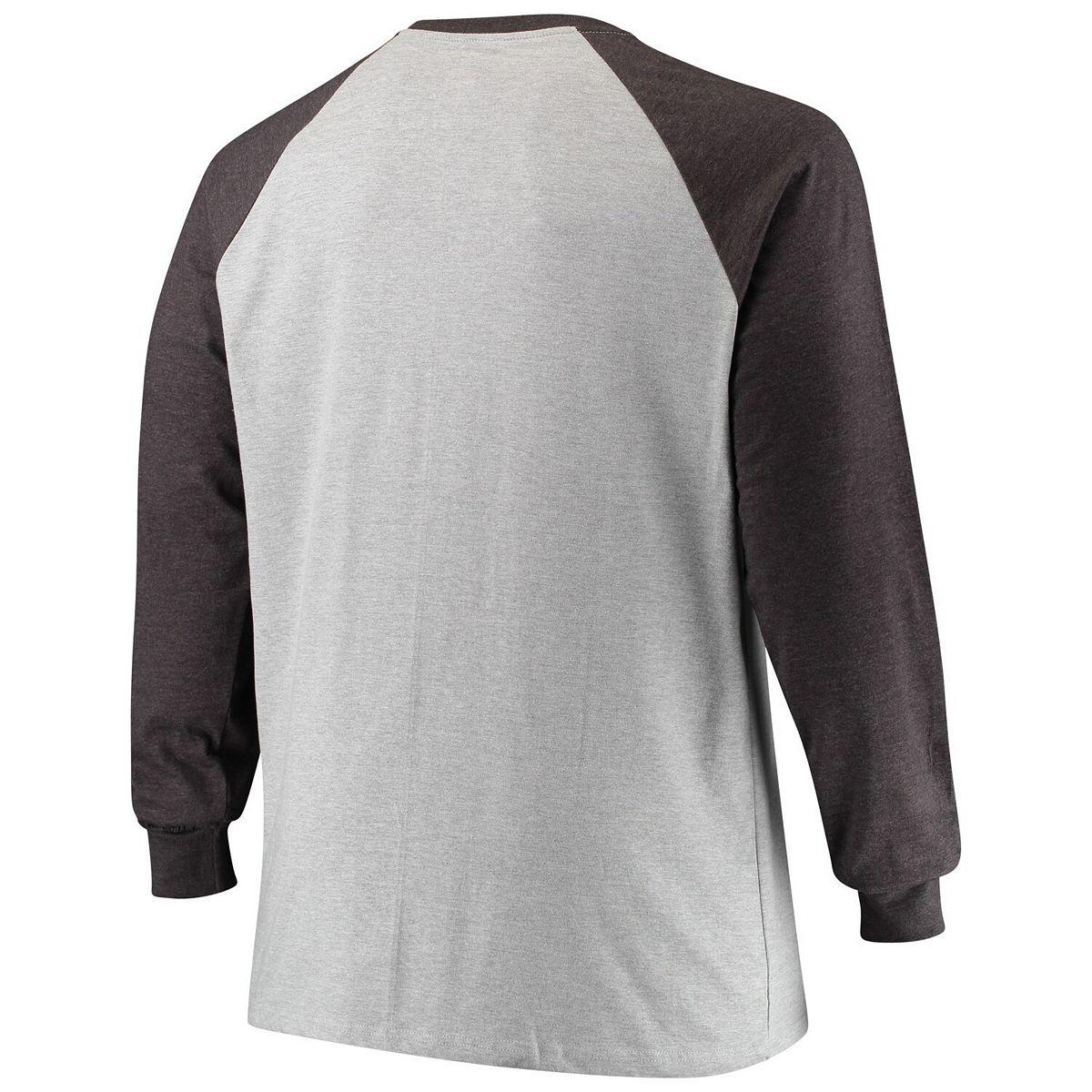 Men's Heathered Gray Philadelphia Eagles Big & Tall Contrast Raglan Long Sleeve T-Shirt iReP8