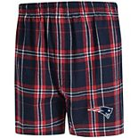 Men's Concepts Sport Navy/Red New England Patriots Hillstone Flannel Boxers