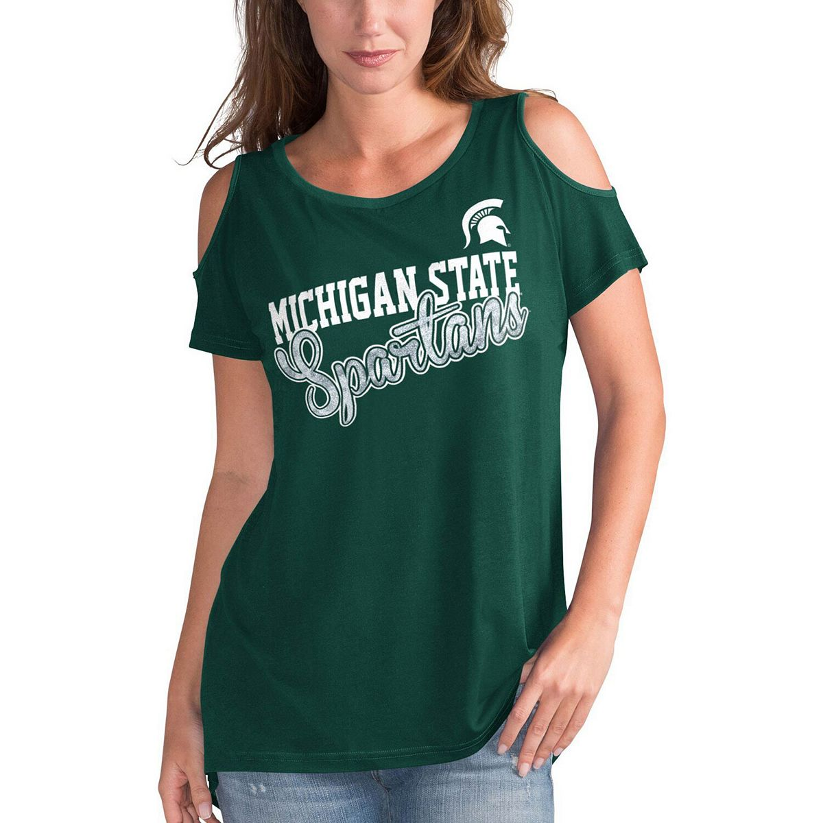 Women's G-III 4Her by Carl Banks Green Michigan State Spartans Clear the Bases Cold Shoulder T-Shirt dFpGi