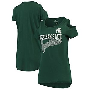 Women's G-III 4Her by Carl Banks Green Michigan State Spartans Clear the Bases Cold Shoulder T-Shirt