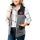 Women's Black Clemson Tigers Prep For It Herringbone Knit Full-Zip Vest