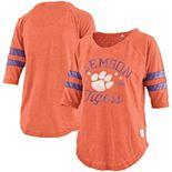Women's Pressbox Orange Clemson Tigers Jade Vintage Washed 3/4-Sleeve Jersey T-Shirt