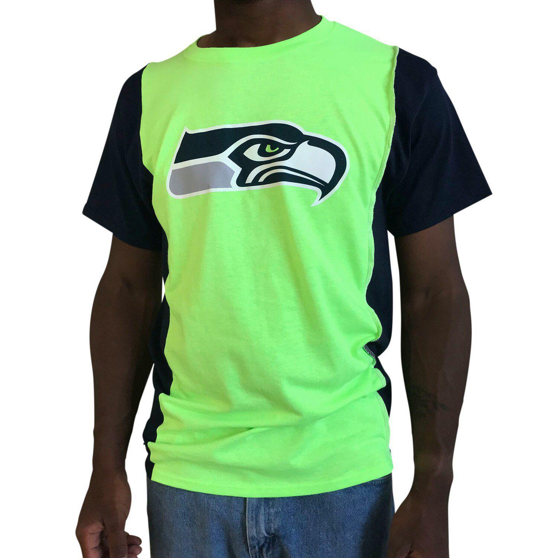 Large Seattle Seahawks NFL Men/'s Mesh Wilson 3 T-Shirt Navy New