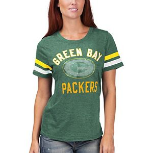 Women's G-III 4Her by Carl Banks Green Green Bay Packers Extra Point Bling Tri-Blend T-Shirt