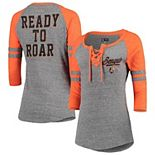 Women's New Era Heathered Gray/Heathered Orange Cincinnati Bengals Lace-Up Tri-Blend Raglan 3/4-Sleeve T-Shirt