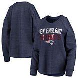 Women's New Era Heathered Navy New England Patriots Cold Shoulder Tri-Blend Raglan Long Sleeve T-Shirt