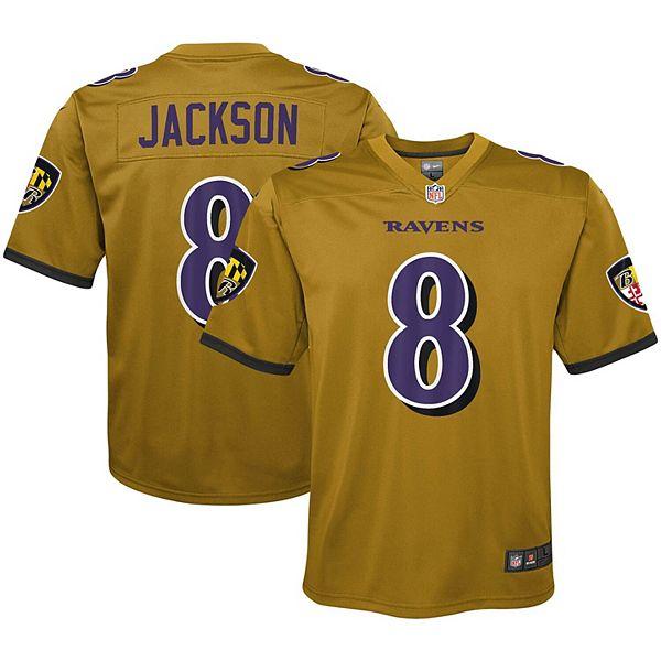 Youth Nike Lamar Jackson Gold Baltimore Ravens Inverted Game Jersey