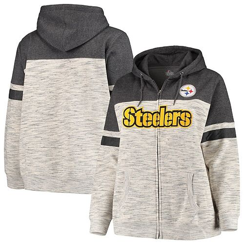 best sneakers 481a6 e0c66 Women's Majestic Heathered Black Pittsburgh Steelers Plus ...