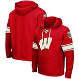 Men's Colosseum Red Wisconsin Badgers 2.0 Lace-Up Pullover Hoodie