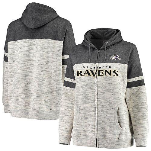 huge selection of 97c1f 73d5b Women's Majestic Heathered Black Baltimore Ravens Plus Size Full-Zip  Varsity Pop Hoodie