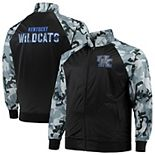 Men's Black/Gray Kentucky Wildcats Big & Tall Raglan Camo Full-Zip Jacket
