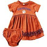 Girls Infant Colosseum Orange Clemson Tigers Plucky Dress and Bloomer Set