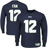 Men's Seattle Seahawks 12s College Navy Eligible Receiver II Name and Number Long Sleeve T-Shirt