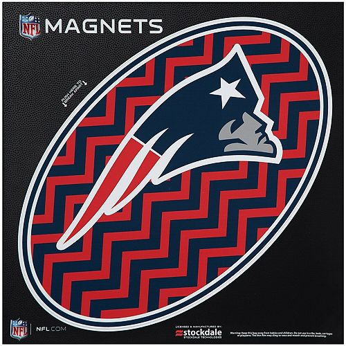 "New England Patriots Chevron 12"" x 12"" Oval Full Color Magnet"