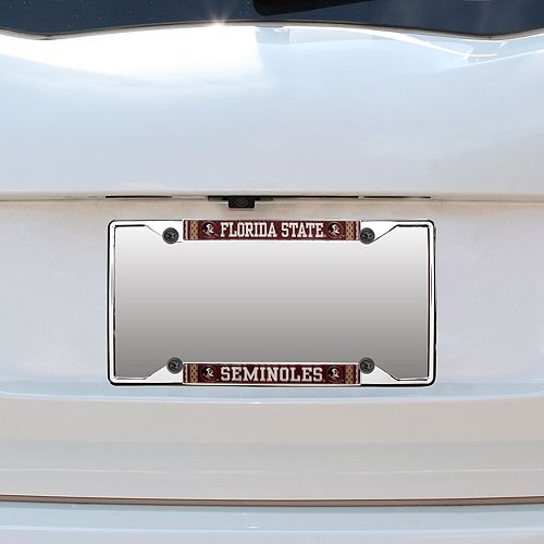 Florida State Seminoles Jersey Small Over Small Metal Acrylic Cut License Plate Frame
