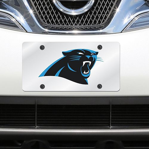 Carolina Panthers Mirror License Plate With Laser Cut Acrylic Logo