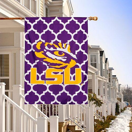 "LSU Tigers Double-Sided 28"" x 40"" Quatrefoil Fashion House Flag"