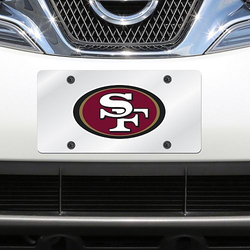 San Francisco 49ers Mirror License Plate With Laser Cut Acrylic Logo