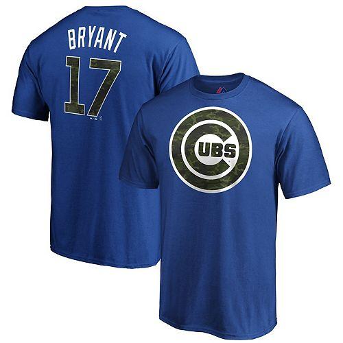 Men's Majestic Kris Bryant Camo/Blue Chicago Cubs Name & Number T-Shirt