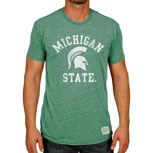 Men's Original Retro Brand Heather Green Michigan State Spartans Vintage Classic Tri-Blend T-Shirt