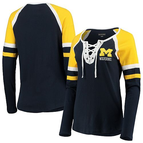 Women's 5th & Ocean by New Era Navy Michigan Wolverines Lace-Up Raglan Long Sleeve T-Shirt