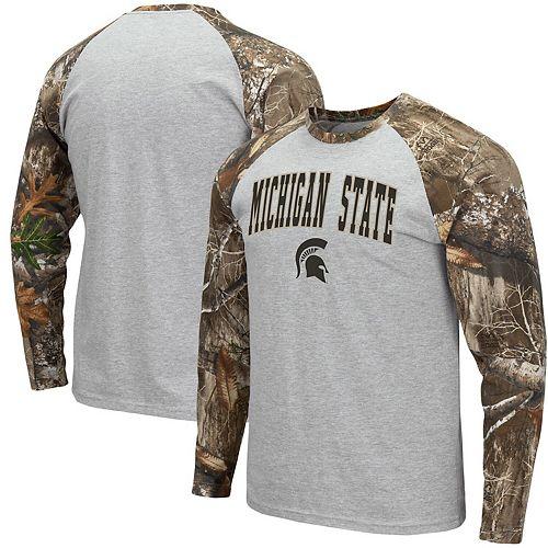 Men's Colosseum Heathered Gray/Realtree Camo Michigan State Spartans Arch & Logo Raglan Long Sleeve T-Shirt
