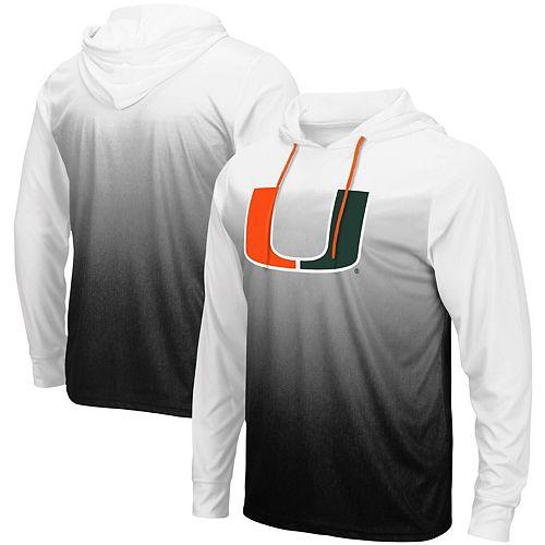 Men's Colosseum Black Miami Hurricanes Magic Gradient Hooded Long Sleeve T-Shirt