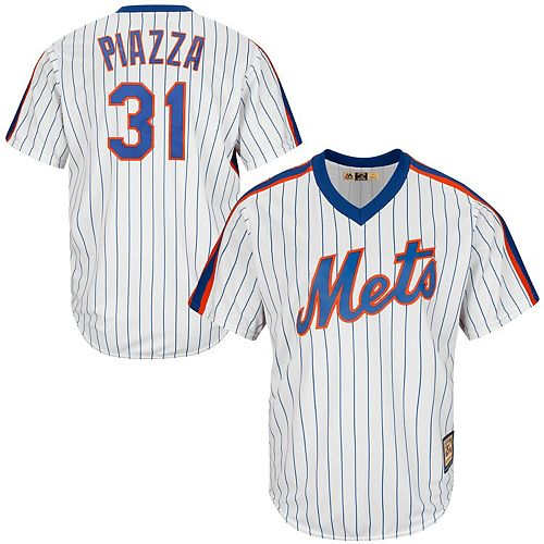 Men's Majestic Mike Piazza White New York Mets Cool Base Cooperstown Collection Player Jersey