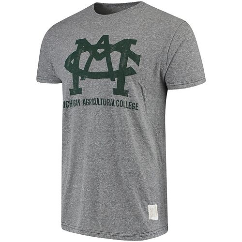 Men's Original Retro Brand Heathered Gray Michigan State Spartans Michigan Agricultural College Tri-Blend Vintage T-Shirt