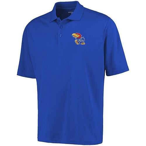 Mens Kansas Jayhawks Antigua Royal Blue Logo Grande Pique Polo